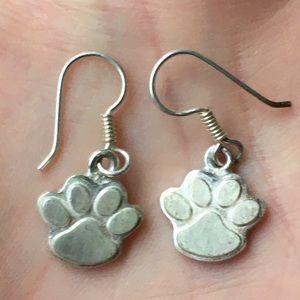 Vintage sterling dog paw earrings